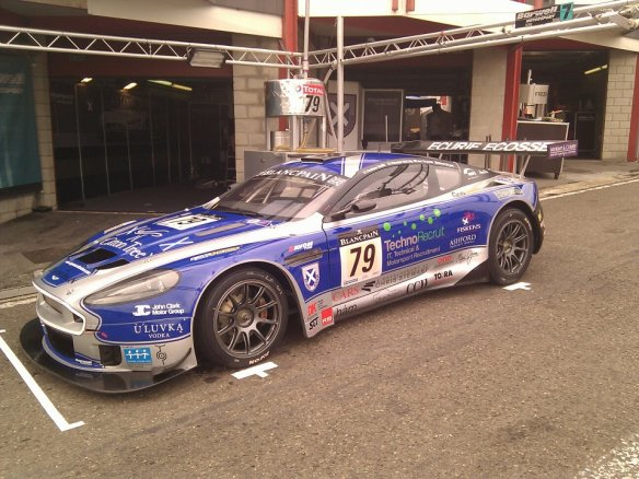 Ecurie Ecosse car showing off it's sponsors for the Spa 24 hours